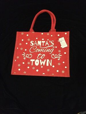 Tesco Santa Jute Tote Bag 2017 Red Dot Coming To Town Christmas Holiday Juco