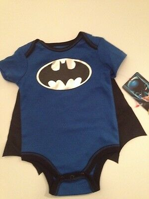 Batman Bodysuit Costume (Baby Boy Batman Superhero Cape Bodysuit Costume Size 3 6 9 Months Black Blue)