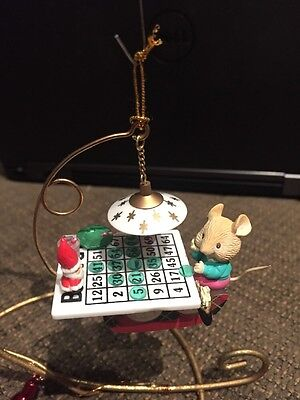 ENESCO CHRISTMAS ORNAMENT: THE NIGHT B 4 CHRISTMAS BINGO PLAYING MOUSE NEW  ()