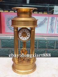 European Retro Bronze Gold Angel Boy Mechanical clockwork Table Clock Timepiece