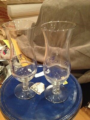 Cruise Ship Royal Caribbean Anchor Stem Tall Hurricane Cocktail Glasses Set Of 2