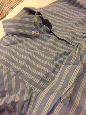 Vintage Abercrombie & Fitch Men's Shirt Blue Green Stripes 100% Cotton Small