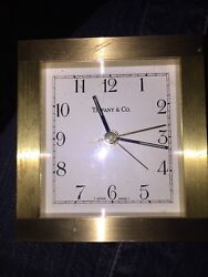 Tiffany & Co Brushed Brass Alarm Clock Desk Mantle Clock Swiss Made Quartz