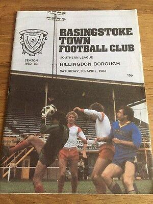 Basingstoke Town Vs Hillingdon Borough Football Programme. Southern League 82/83