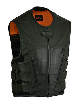 MENS MOTORCYCLE BIKER BLACK LEATHER VEST SWAT STYLE w/ CONCEAL POCKETS STYLE NEW ()