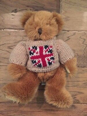 Harrods Knightsbridge Teddy Bear 1' Stuffed Animal Plush UK Sweater Union Jack