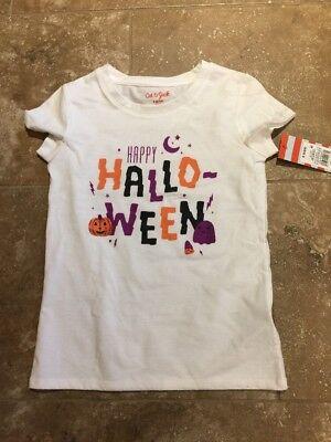 Girls' Short Sleeve Happy Halloween T-Shirt - Cat & Jack White 6/6x Small - Happy Halloween Cat