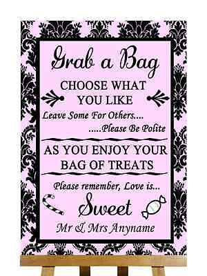 Baby Pink Black Damask Candy Buffet Sweet Cart Poem Personalised Wedding Sign](Baby Candy Buffet)