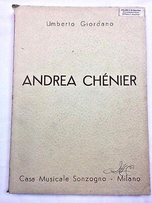 1896 Opera Andrea Chenier by Umberto Giordano 1959 Music Book