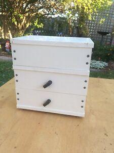 Empty triple storey native bee hive for splitting or log transfer