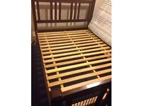 Fantastic solid wood and iron mesh double bed frame