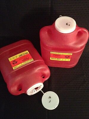Lot Of 2 Bd Disposable Sharps Collector 6.9 Qt. 305489 Red