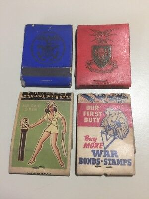 Vintage 1940s Military War Related Match Books