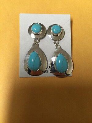 Native American Navajo Sterling Turquoise Post Dangle Earrings Rusell Wilson #1
