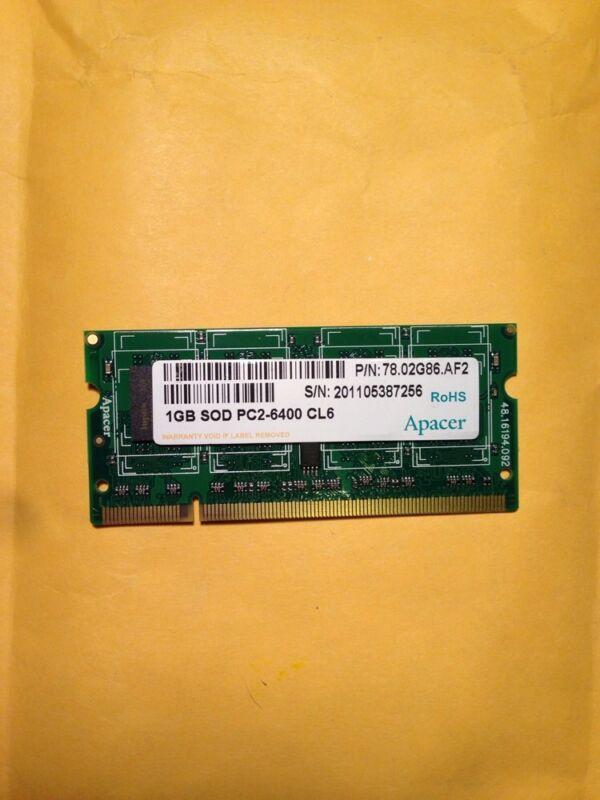 Apacer  Memory 1GB SOD PC2-6400 CL6  (1GB Module)