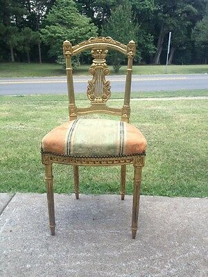 Antique French Louis XVI Gold Gilt Ornate Carved Chair Rococo