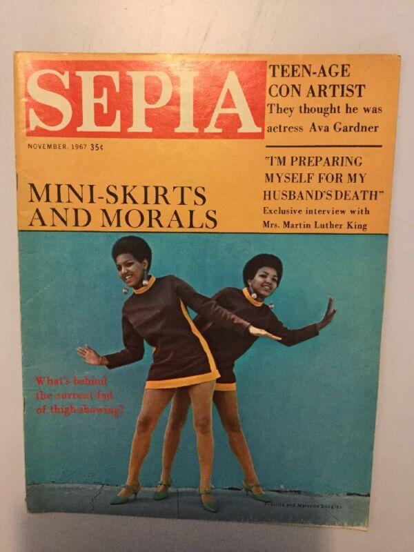 Sepia Magazine November 1967 twins Priscilla and Marcella Douglas; Coretta King