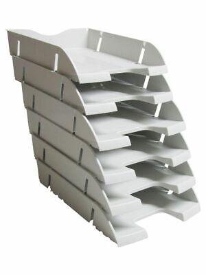 Briefablage lichtgrau  6 Stück A4-C4 stapelbar PET Dokumentenablage Schreibtisch - 4 Stück Schreibtisch