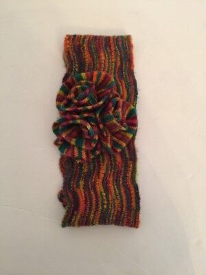 Women's Marled Knit Rainbow Headband with Rosette