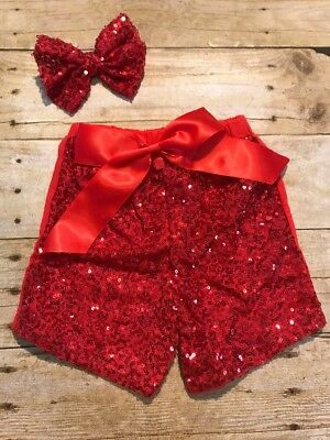 Girls Red Sequin Shorts With Matching Now Size 5-6 New boutique Style - Red Sequin Shorts