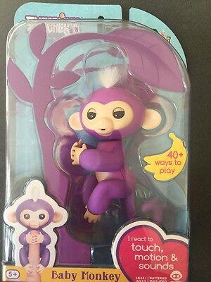 Authentic Wowwee Fingerlings Mia Baby Monkey Interactive Mia Purple Monkey