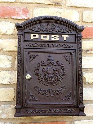 Briefkasten London braun aus Alu wie historisch englischer Wandbriefkasten