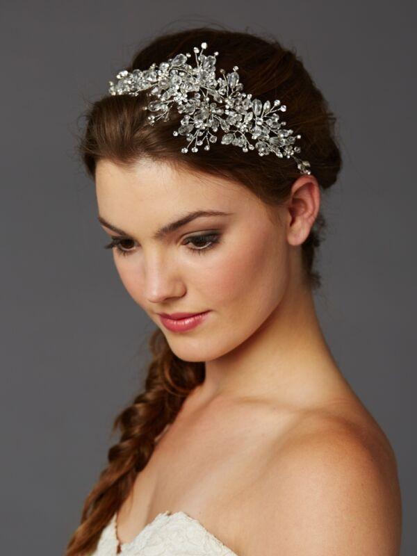 Silver Crystal Rhinestone Spray Bridal Headband Tiara Headpiece Hair Vine