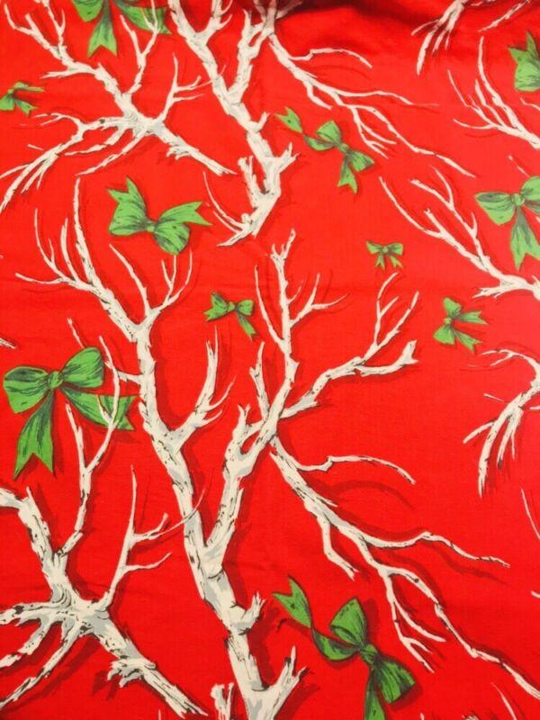 Vintage Xmas 58 x 68 Tablecloth Red Cotton White Birch Branches Rectangular