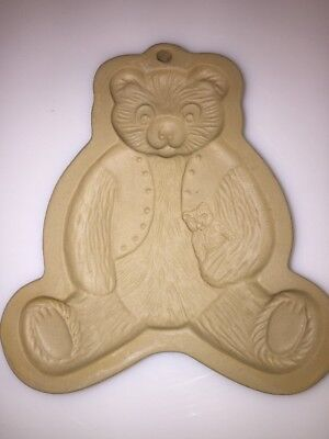 Vintage Brown Bag Cookie Art Teddy Bear Cookie Mold from 1984 Stoneware