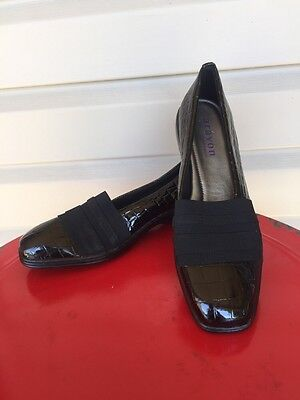 Kasey Womens Shoes - WOMENS ARAVON NEW BALANCE KASEY CROC LOAFER DRESS SHOE BLACK PATENT 11 AA N $120
