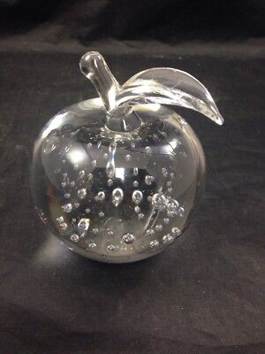 Handmade Crystal Glass Apple Paperweight 3 25  Decorative Glass Office Decor
