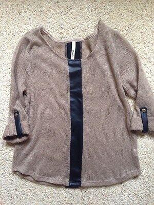 Women's Juniors Mind Code Sweater Size Medium Leather Like Tan Brown -
