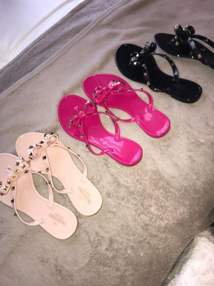 Fashion Ladies Girls Jelly Sandals Bow Stud Flip Flops Beach Shoes