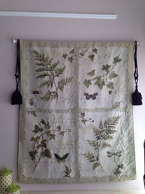 Butterfly Tapestry Wall Hanging - Ferns Ivy Plants Butterfly Dragonfly Botanical Art Large Tapestry Wall Hanging