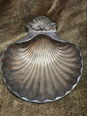"""Vintage SG England Silver Plate Scallop Shell Footed Dish Bowl 6.75x6"""" Metalware"""