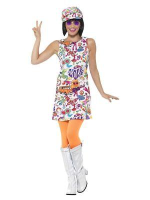 60's Groovy Damen Kleid m. Kappe 60er Jahre Swinging Sixties Flower Power - 60er Jahre Flower Power Hippie Kostüm