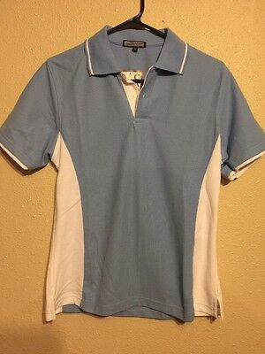 Womens Cana Brand Tennis Polo Size Large New With Tags Baby Blue and White (E)