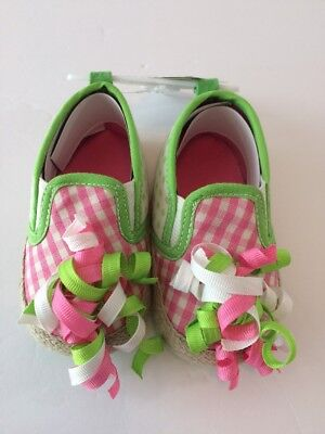 Baby Girl Rising Star Shoes Size 3 9-12 Months Pink Green Jute Curly Ribbons