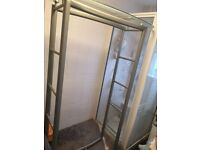 Stunning grey metal shelves Glass Unit Tall storage