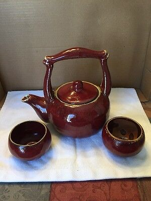 Vintage Pottery Teapot And 2 Cups Set