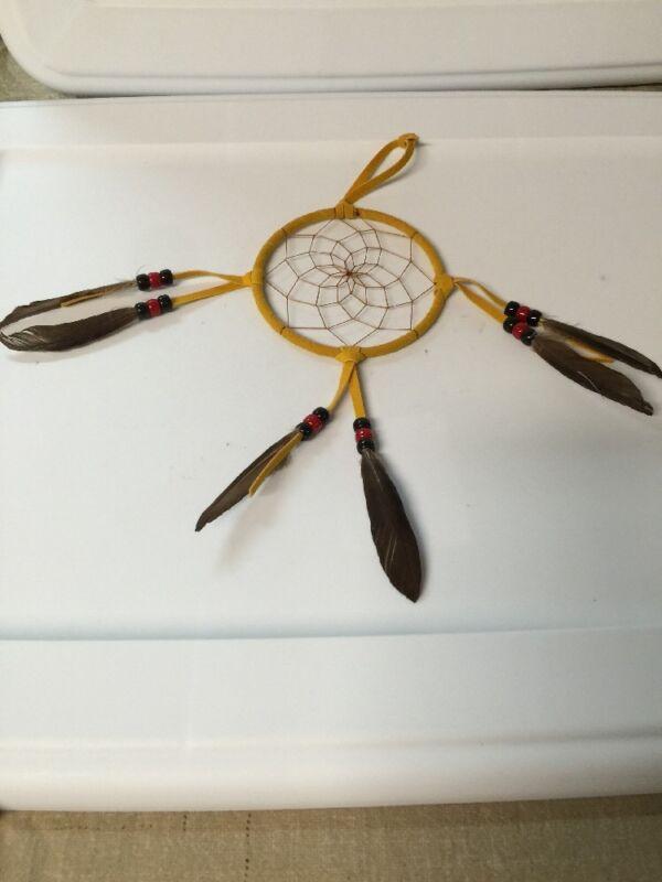 """Navajo Native American Dream Catcher Curtis Bitsui Dream Catcher 4"""" Tanish"""