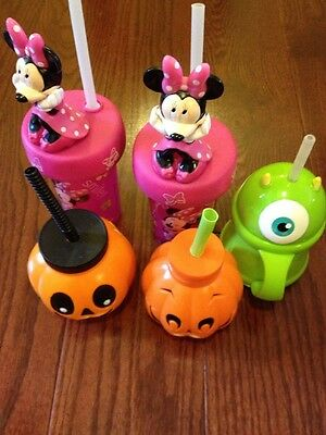 Lot Of 5 Sippy Cups With Straws Mini Mouse, Mike, Pumpkins