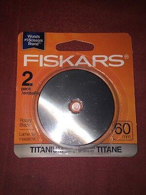 - Fiskars 60mm Titanium Rotary Cutter Cutting Blades 2 pack  3X Harder Than Steel