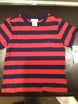 NWT Ralph Lauren Red Striped Infant Pocket Tee Size 24m O21