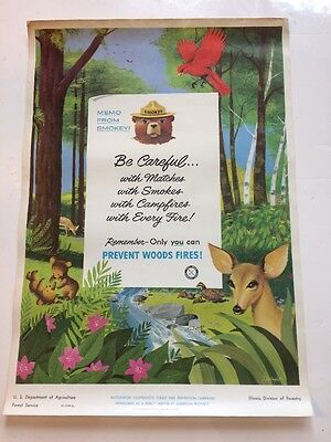 1956 Fire Prevention Poster USDA U.S. Forest Service Illinois Smokey the Bear