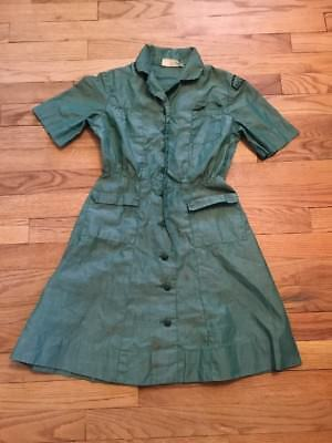 Vintage Girl Scouts Of America Uniform Official Dress Sz 8 Green Romper Costume - Girl Scout Uniform Costume