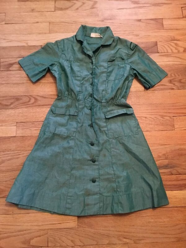 Vintage Girl Scouts Of America Uniform Official Dress Sz 8 Green Romper Costume
