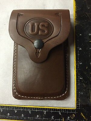 Single Stack 45ACP 1911 Brown Leather Dual Mag Flap Pouch Stamped US - USA Made!