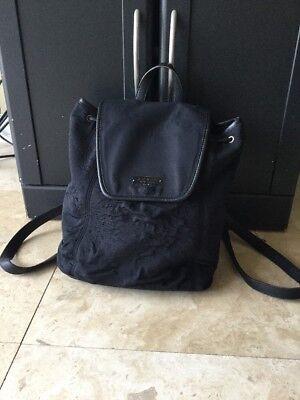 Plush Black Leather (VTG-COACH NY #6205 Black MICRO-PLUSH LEATHER TRIM BACKPACK RARE! )