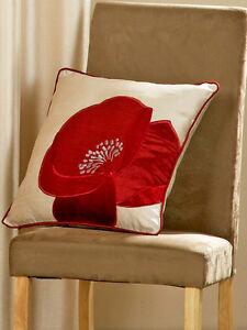 Poppy Cushion Cover - Floral Applique Faux Silk Cream Red Cushion Case 18